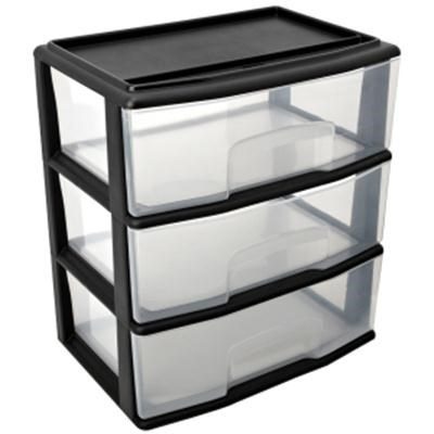 Large Three Drawer Wide Cart Black - 05543BK.01