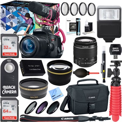 EOS Rebel T6i Video Creator w/ 18-55mm Lens, Rode VideoMic, 64GB Memory Bundle