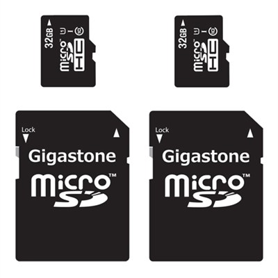 2-Pack - 32GB Class 10 U1 MicroSD Memory card with SD Adapter - 64GB Total