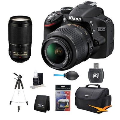D3200 DX-format Digital SLR Kit w/ 18-55m and 70-300mm Lens Kit
