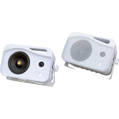 4-inch 300 Watt 3-Way Weather Proof Mini Box Speaker System (White)