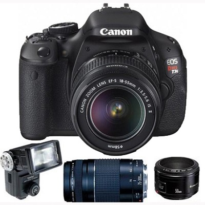 EOS Digital Rebel T3i 18MP SLR Camera Triple Lens Flash Pack