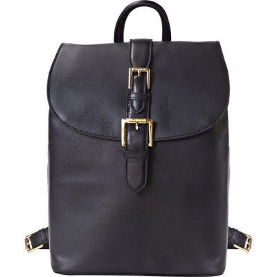 Isaac Mizrahi `KATHRYN` Mini Camera Backpack in Genuine Leather - Black