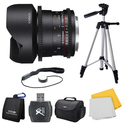 DS 14mm T3.1 Full Frame Ultra Wide Angle Cine Lens for Sony A Mount Bundle
