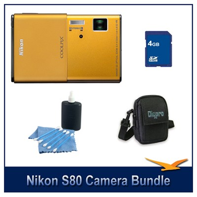 COOLPIX S80 Gold Camera 4GB Bundle w/ Case and Cleaning Kit