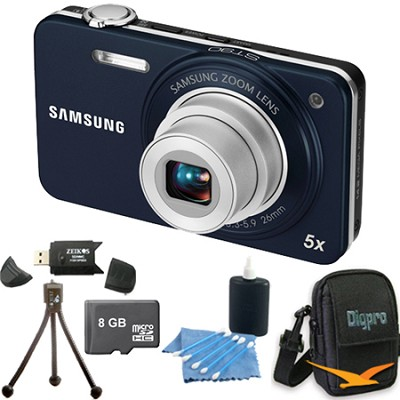 ST90 Compact 14.2 MP Indigo Blue Digital Camera 8 GB Bundle