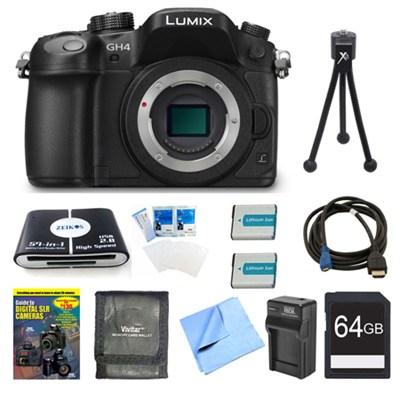 LUMIX DMC-GH4K DSLM Digital Camera Body 64GB and 2 Batteries Bundle