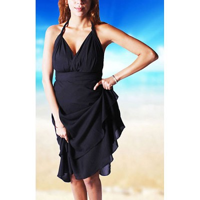 100 Way Wrap Skirt Dress, Solid Black (One Size)