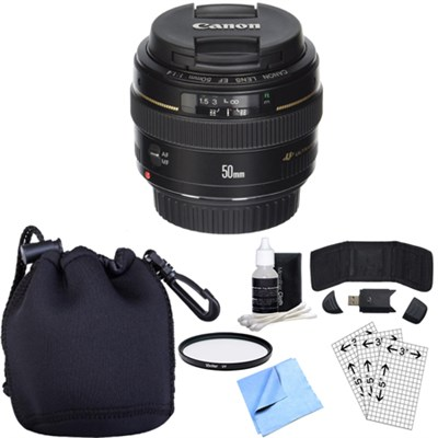 EF 50mm f/1.4 USM Standard + Medium Telephoto Lens w/ Essential Accessory Bundle