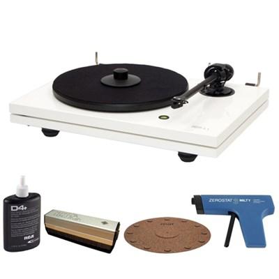2-Speed Audiophile Black Turntable w/ Cartridge + Record Cleaner Kit