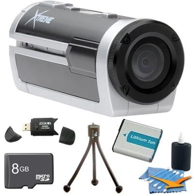 Xtreme Sports Full HD 1080p Waterproof Helmet Video Camera (Silver) Ultimate Kit