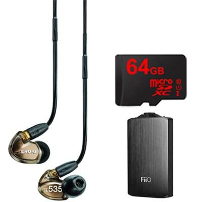 SE535 Triple Driver Earphone w/ Detachable Cable (Bronze) & FiiO A3 Amp