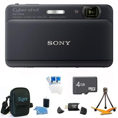 Cyber-shot DSC-TX55 Black Slim Digital Camera 3.3` OLED Touchscreen w/ 4GB Kit