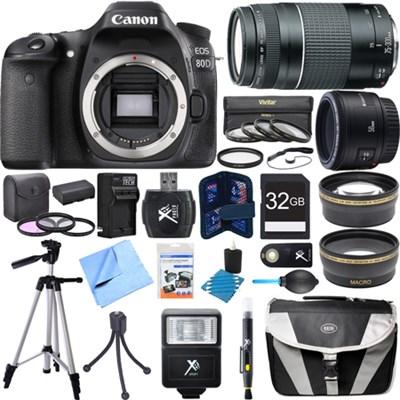 EOS 80D 24.2 MP CMOS Digital SLR Camera w/ 50mm + 75-300mm Lens Super Bundle