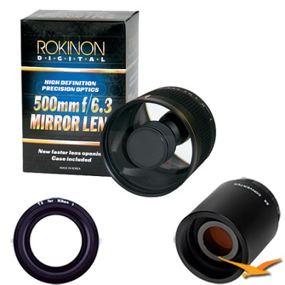 500mm F6.3 Mirror Lens for Nikon 1 with 2x Multiplier (Black) ED500M-B