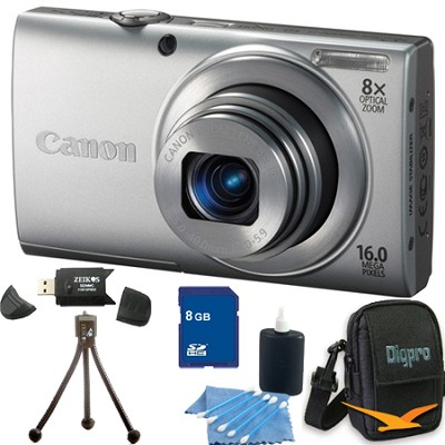 PowerShot A4000 IS 16MP Silver Digital Camera 8GB Bundle