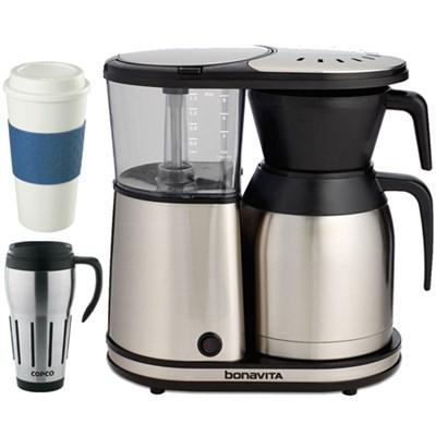 8-Cup Coffee Brewer w/ Silver Lined Thermal Carafe w/ Copco Mug Bundle