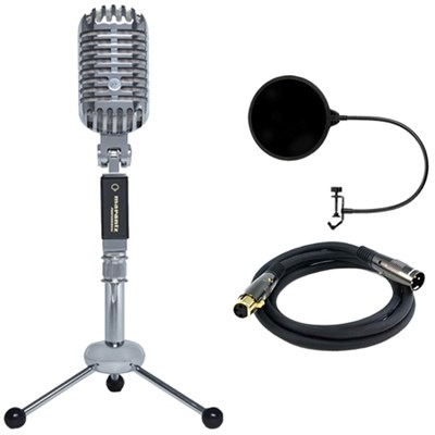 Retro Cast USB Microphone with Vintage Styling w/ Filter Bundle
