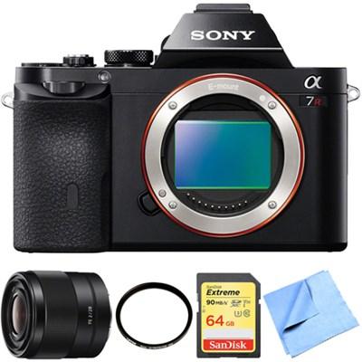 A7R (Alpha 7R) Interchangeable Lens Camera Body 28mm Prime Lens Bundle