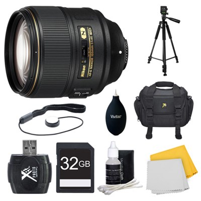 AF-S NIKKOR 105mm f/1.4E ED Lens. 32GB Card, and Accessories Bundle