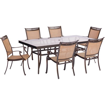 7pc Dining Set: 6 Sling Dining Chairs 42x84  Glass Dining Table