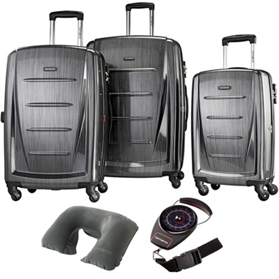 Winfield 2 Fashion Hardside 3 Pcs Spinner Set Charcoal with Travel Kit