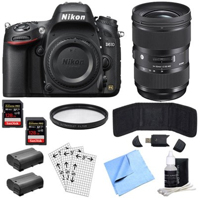 D610 FX 24.3MP 1080p video DSLR Camera-Body & Sigma 24-35mm Lens Power Bundle