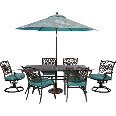 7pc Dining Set(TRADITIONS7PCSW)Umbrll(TRADITIONSUMB)&Stnd(UMBRELLABASE)