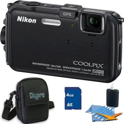COOLPIX AW100 16MP Waterproof Shockproof Freezeproof Black Camera 4GB Bundle