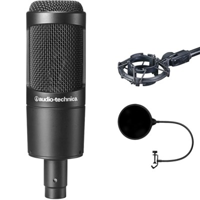 Cardioid Condenser Microphone - AT2035 w/ Pop Shield Wind Screen