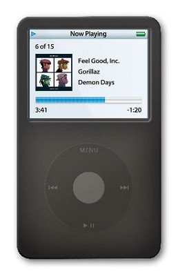 Protective silicone skin for iPod 30GB Video (Black) w/ Armband