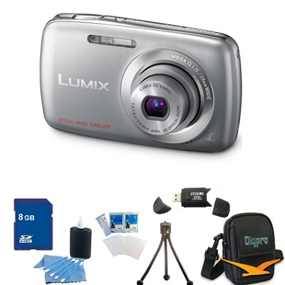 Lumix DMC-S1 12MP Compact Silver Digital Camera w/ 720p HD Video 8GB Bundle