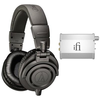Professional Studio Monitor Headphones - Gray  w/ iFi Audio Port. Headphone Amp.