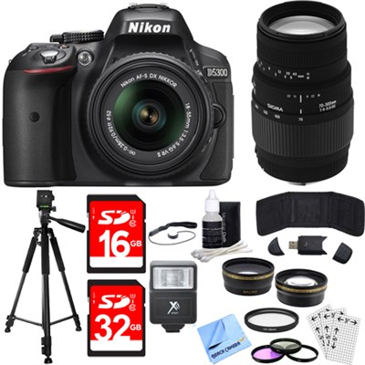 D5300 DX-Format Digital SLR Camera Kit w/ 18-55mm + 70-300mm Lens Black Bundle