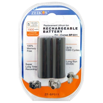 BP-511CL - 1300 MAH BP-511/BP-512 for Canon Digital Cameras and Camcorders