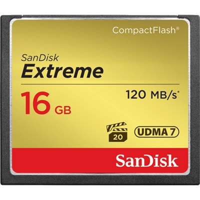 Extreme CompactFlash 16GB Memory Card, UDMA 7, Up to 120 MB/s Read Speed