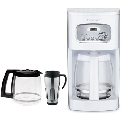 Brew Central 12-Cup Programmable Coffeemaker, White (Factory Refurb) w/Bundle
