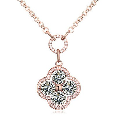 Cubic Zirconia and Alloy, Plated 18k White Gold 4 Leaf Clover Necklace