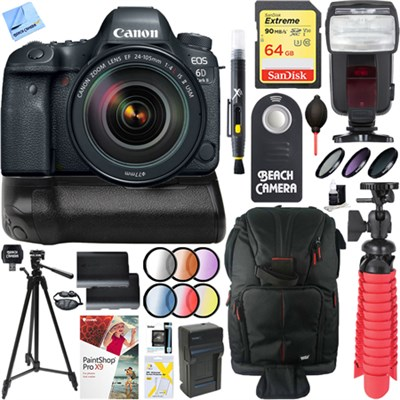 EOS 6D Mark II DSLR Camera with 24-105mm IS II USM Lens + Canon Battery Grip Kit