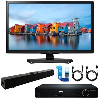 24-Inch Smart LED TV 2017 Model w/ HDMI DVD Player & Sound Bar Bundle