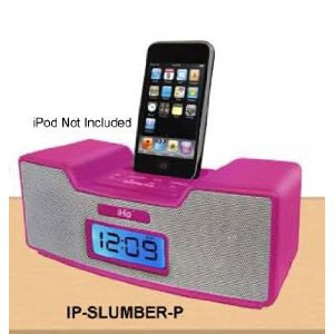 Dual Alarm Clock Radio & Speaker System for iPod (Pink)