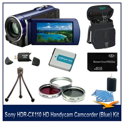 HDR-CX110 HD Handycam Camcorder (Blue)With  8GB Memory  card, Battery, and more