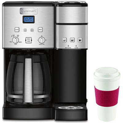 12-Cup Coffee Maker and Single-Serve Brewer w/16 Oz Reusable Mug Red