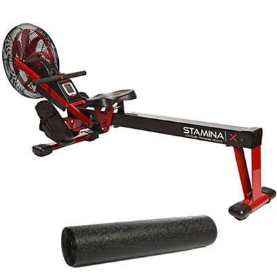 X Air Rower,Red and Fold-to-Fit Folding Equipment Mat (84` by 36`)