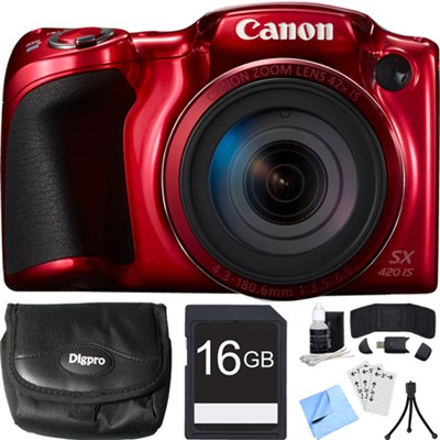 PowerShot SX420 IS 20MP Red Digital Camera + 42x Optical Zoom 16GB Card Bundle