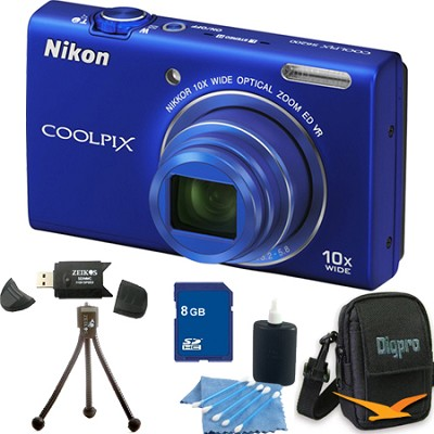 COOLPIX S6200 Blue 10x Zoom 16MP Camera 8GB Bundle