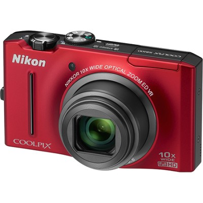 COOLPIX S8100 12.1 Megapixel Red Digital Camera w/ 1080p HD Video