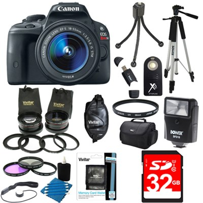 EOS Rebel SL1 18MP DSLR Camera & EF-S 18-55mm IS STM Ultra 3 Lens Bundle + Flash