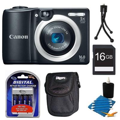 PowerShot A1400 Black 16MP Digital Camera 16GB Bundle