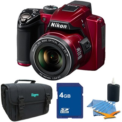 Coolpix P500 12MP Red Digital Camera 4GB Bundle